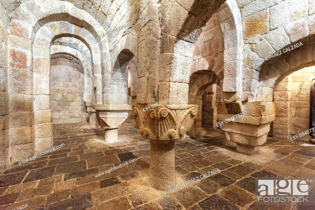 Stock Photo: Leyre, Spain - August 10, 2019 : Interior of the ancient romanesque crypt of the Church of Holy Savior of Leyre Iglesia de San Salvador de Leyre , Navarre.