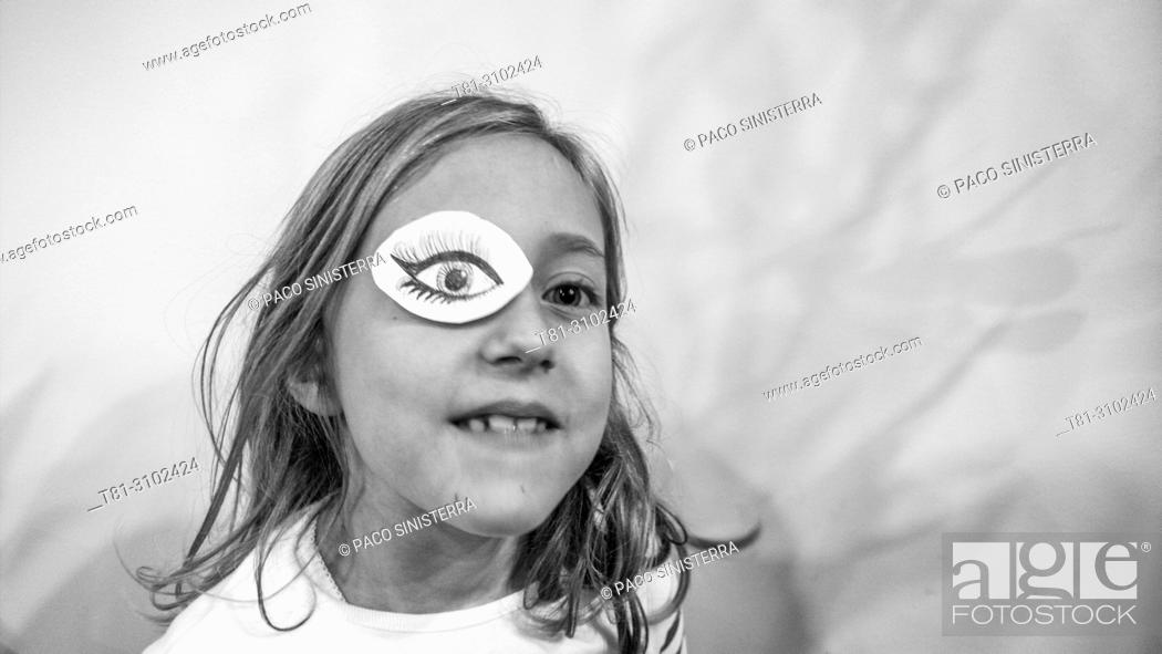 Stock Photo: Girl with eye patch. Valencia, Spain.
