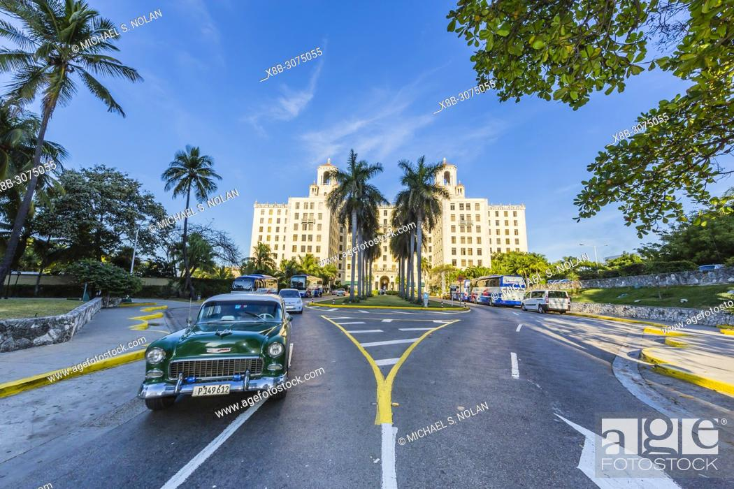 Stock Photo: Classic American car being used as a taxi, locally known as almendrones, Havana, Cuba.
