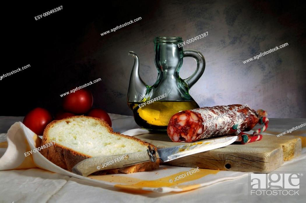Imagen: Still Life with chorizo sausage, oil and bread, Bodegón con chorizo, aceite y pan.