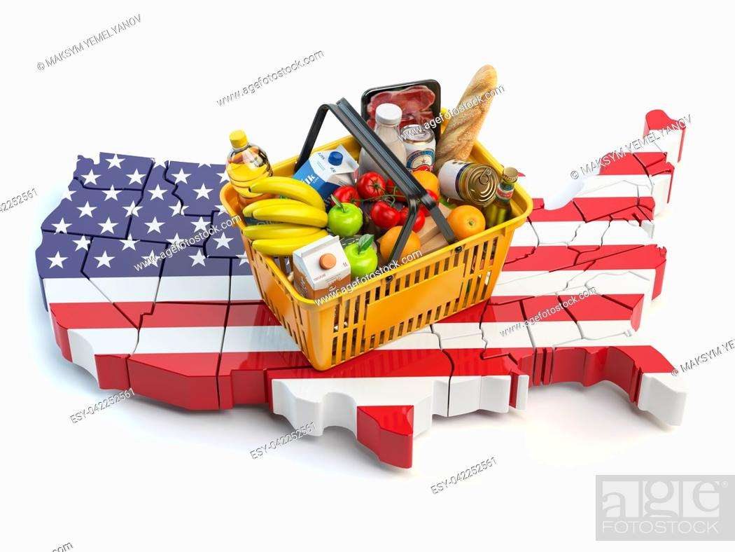 Imagen: Market basket or consumer price index in USA United States. Shopping basket with foods on the map of USA. 3d illustration.