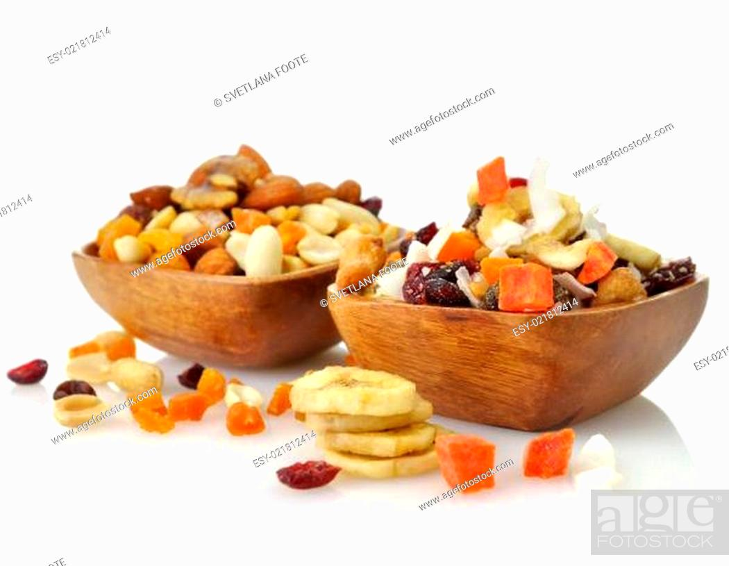 Stock Photo: mixed dried fruit, nuts and seeds.