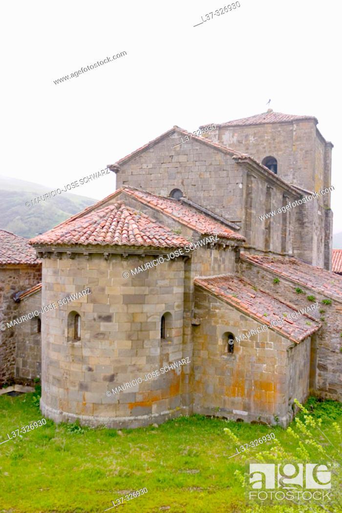 Stock Photo: Romanesque collegiate church of Santa María built 12th century. Puerto de Pajares, León province. Spain.