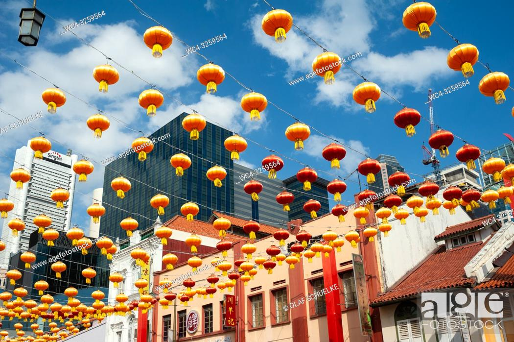 Stock Photo: Singapore, Republic of Singapore, Asia - Annual street decoration with lanterns along South Bridge Road for the Chinese Lunar New Year celebration in.