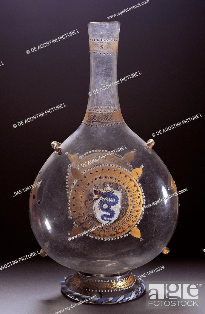 Stock Photo: Clear glass pilgrim flask decorated with polychrome enamel bearing the Sforza family coat of arms made for the wedding of Alessandro Bentivoglio and Ippolita.