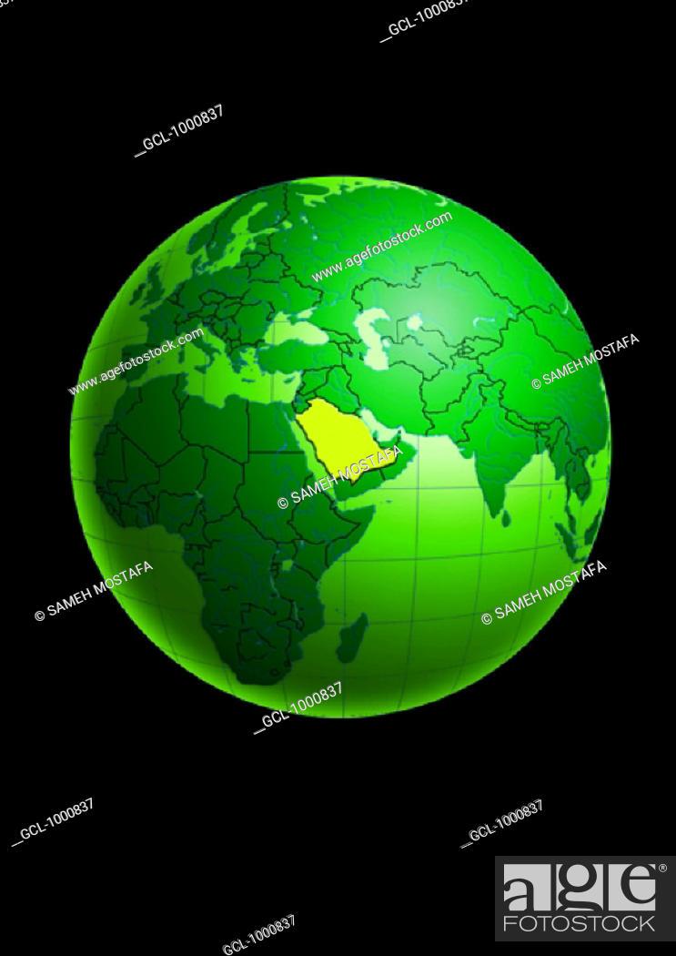 Stock Photo: Saudi Arabia on Globe.