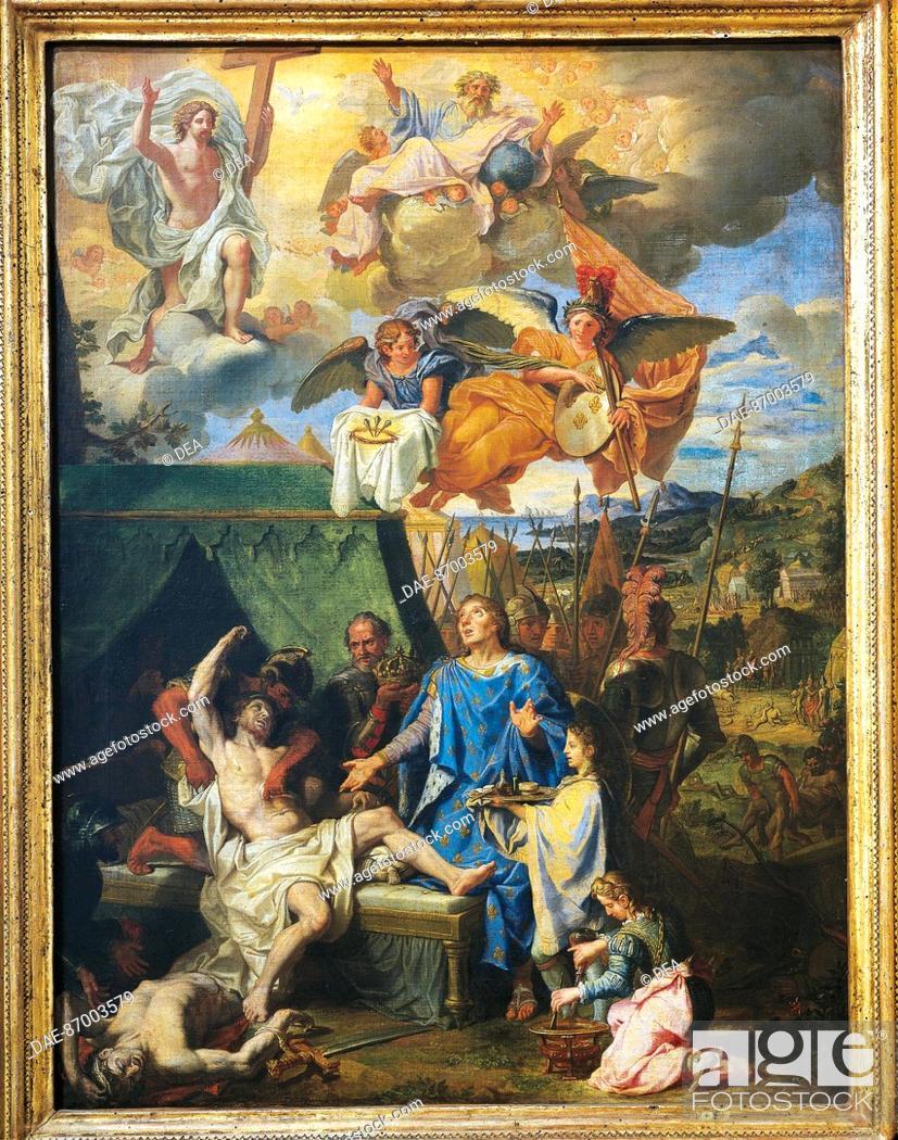 Stock Photo: Louis Licherie de Beurie or de Beuron (1629-1687), Saint Louis (King Louis IX) Healing the Plague-Stricken Soldiers, 1678-81, oil on canvas, 79,5x58,6 cm.