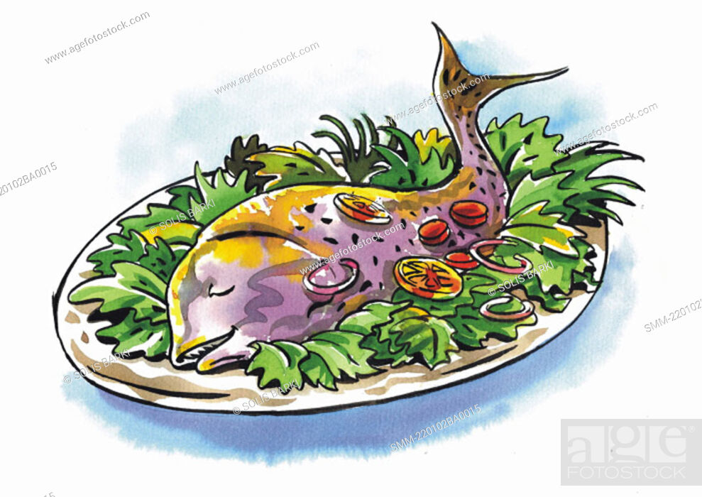 Stock Photo: A whole fish in a platter on a bed of lettuce.