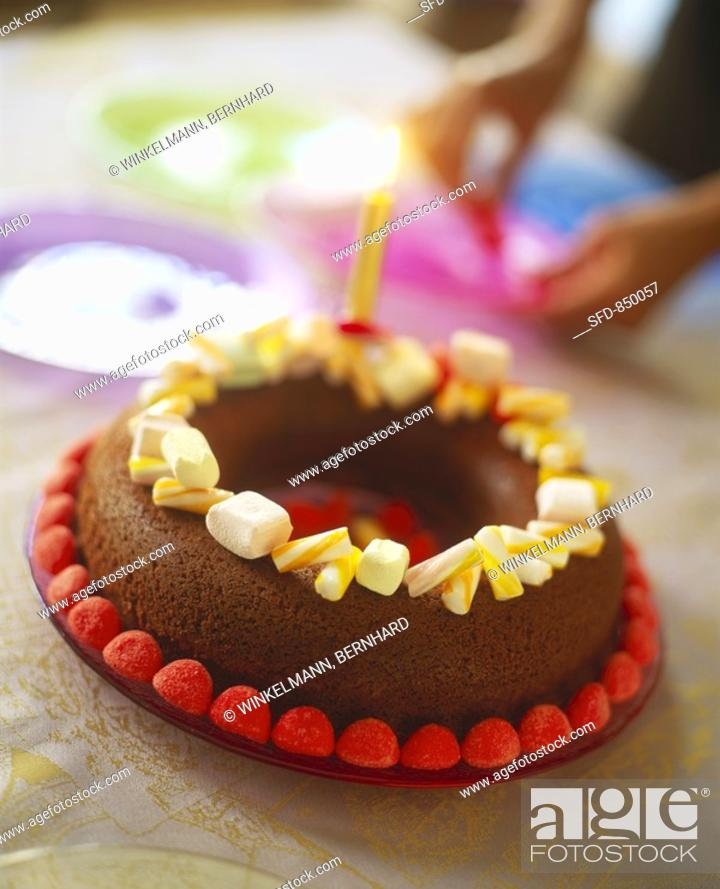 Astonishing Quick Birthday Cake Chocolate Ring With Sweets Stock Photo Personalised Birthday Cards Veneteletsinfo