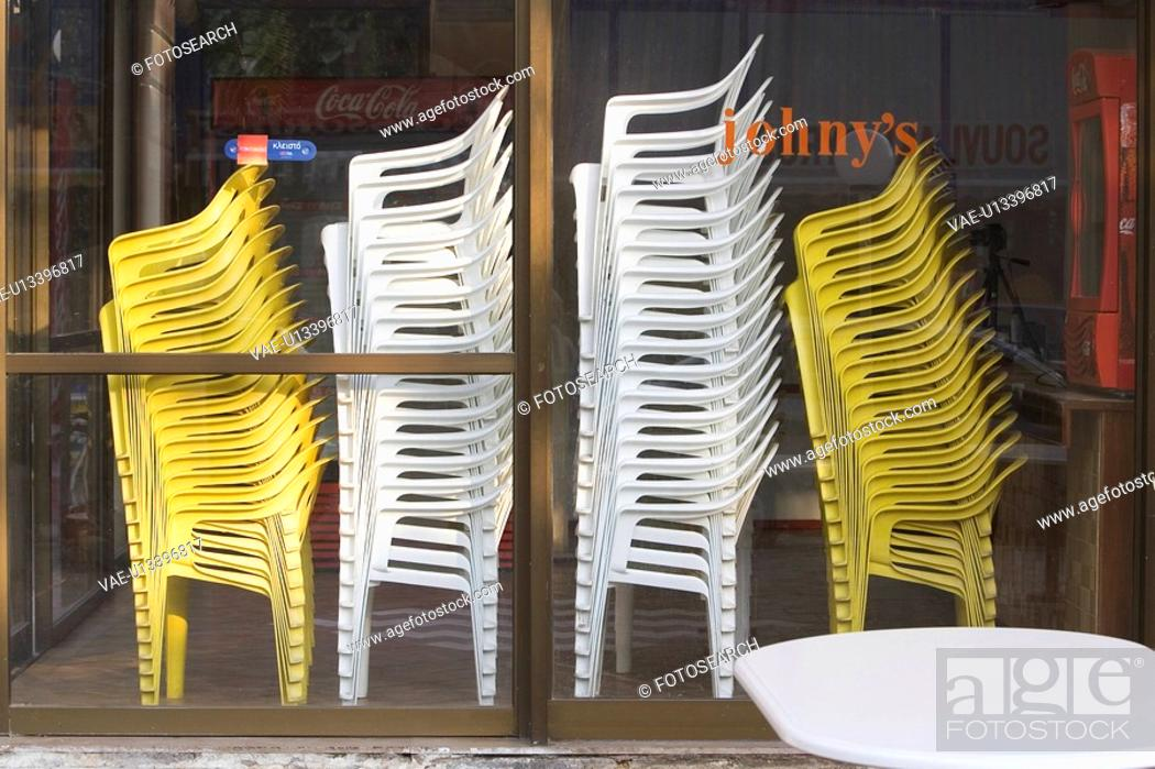 Stock Photo: Chair, Day, Display, Door, Glass.