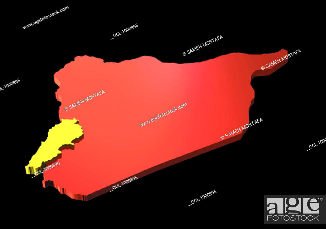 Stock Photo: map of Lebanon and Syria.