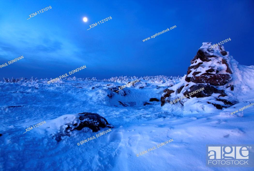 Stock Photo: The summit of Mount Pierce in the White Mountains, New Hampshire USA at dawn.