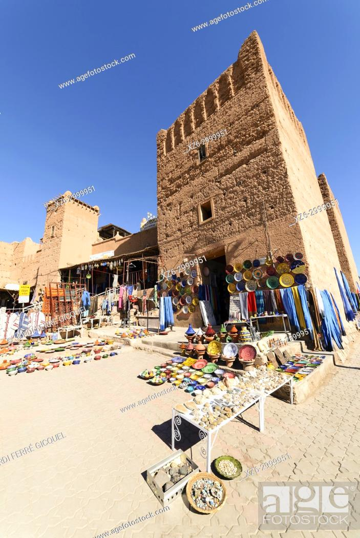 Stock Photo: ceramics objects in a souk, Ouarzazate, Morocco, Africa.