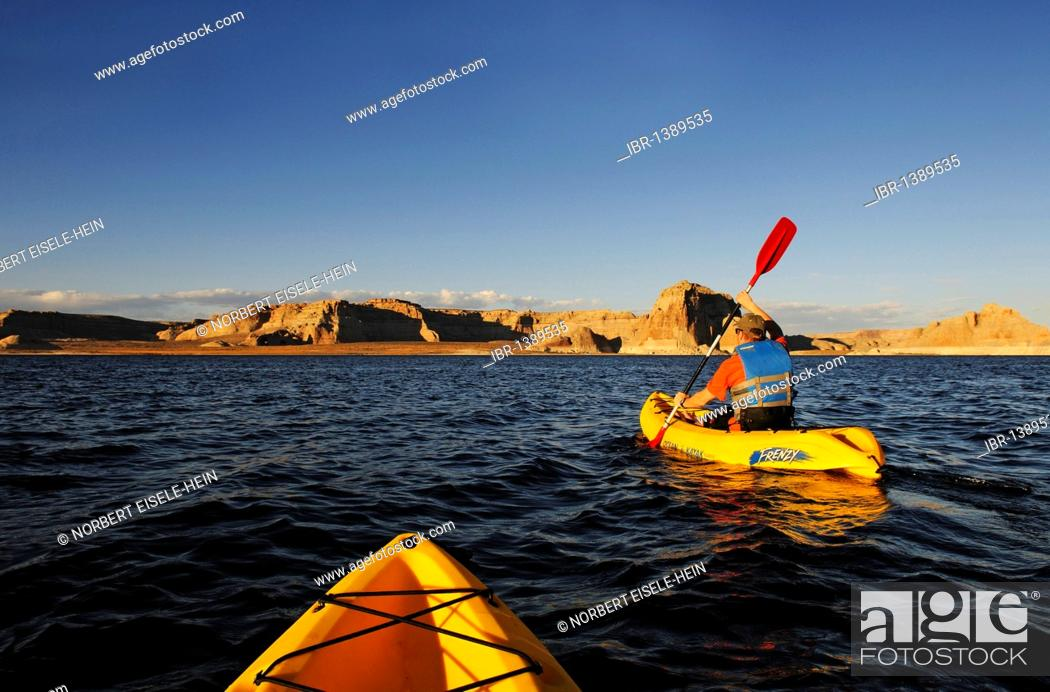 Stock Photo: Kayakers, Lake Powell, Glen Canyon, Arizona, United States.