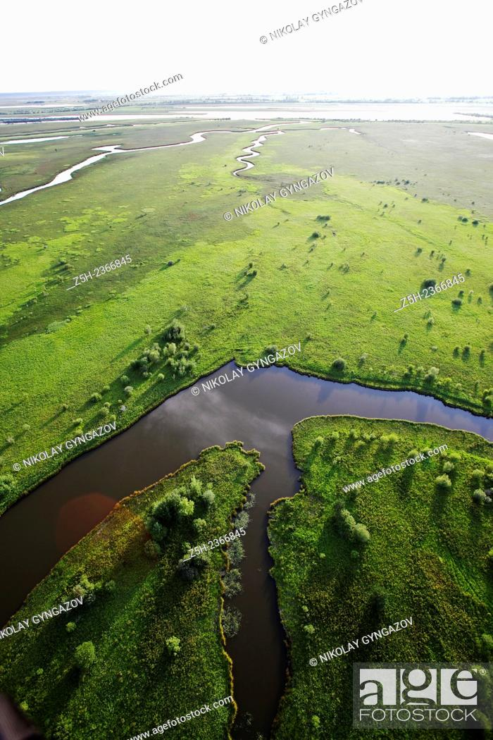 Stock Photo: Nature of the Yamal-Nenets Autonomous District from the air.