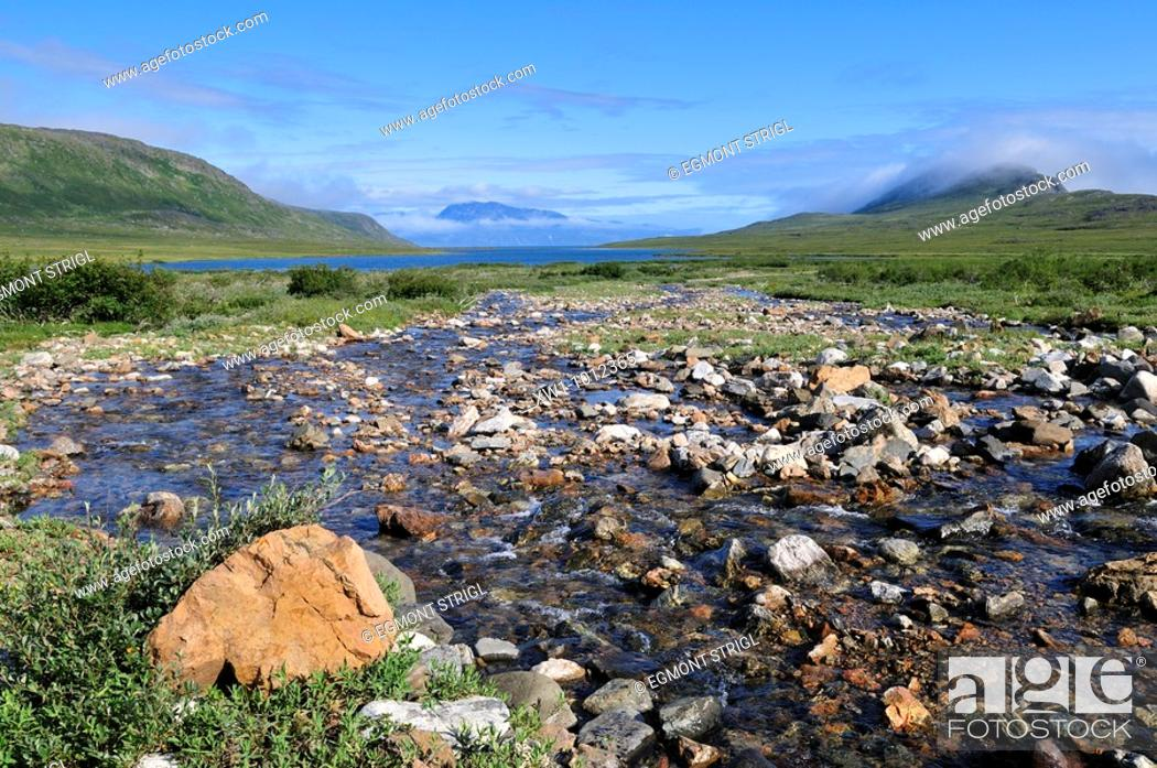 Stock Photo: tundra valley with river, Torngat Mountains National Park, Newfoundland and Labrador, Canada.