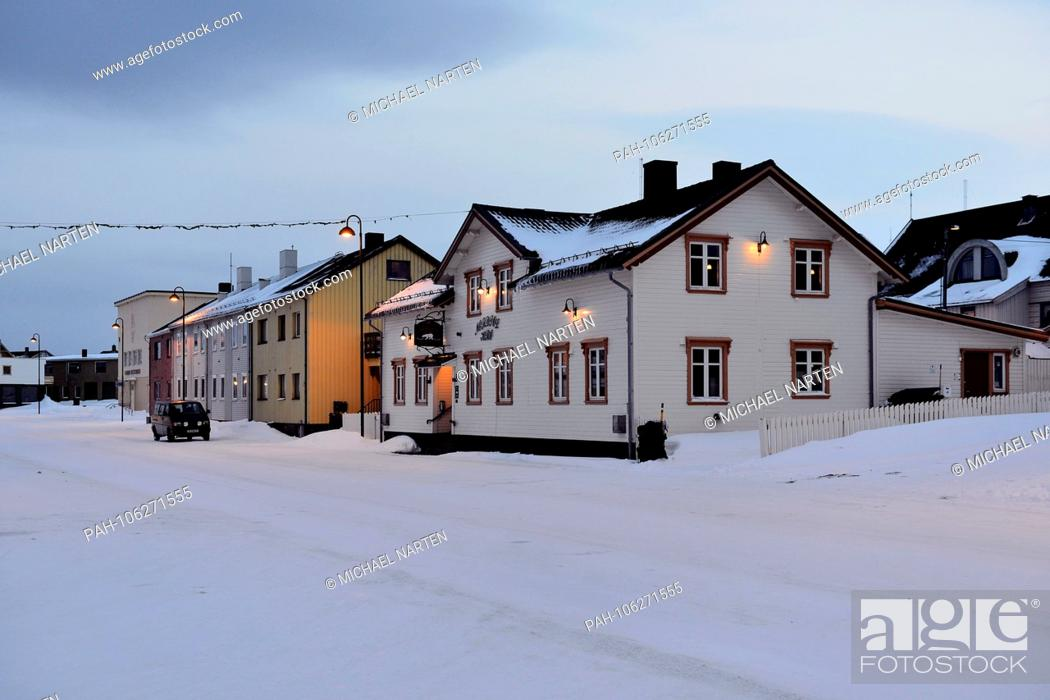 Remarkable Snowy Street With Houses In The Small Norwegian Town Vardo Interior Design Ideas Skatsoteloinfo