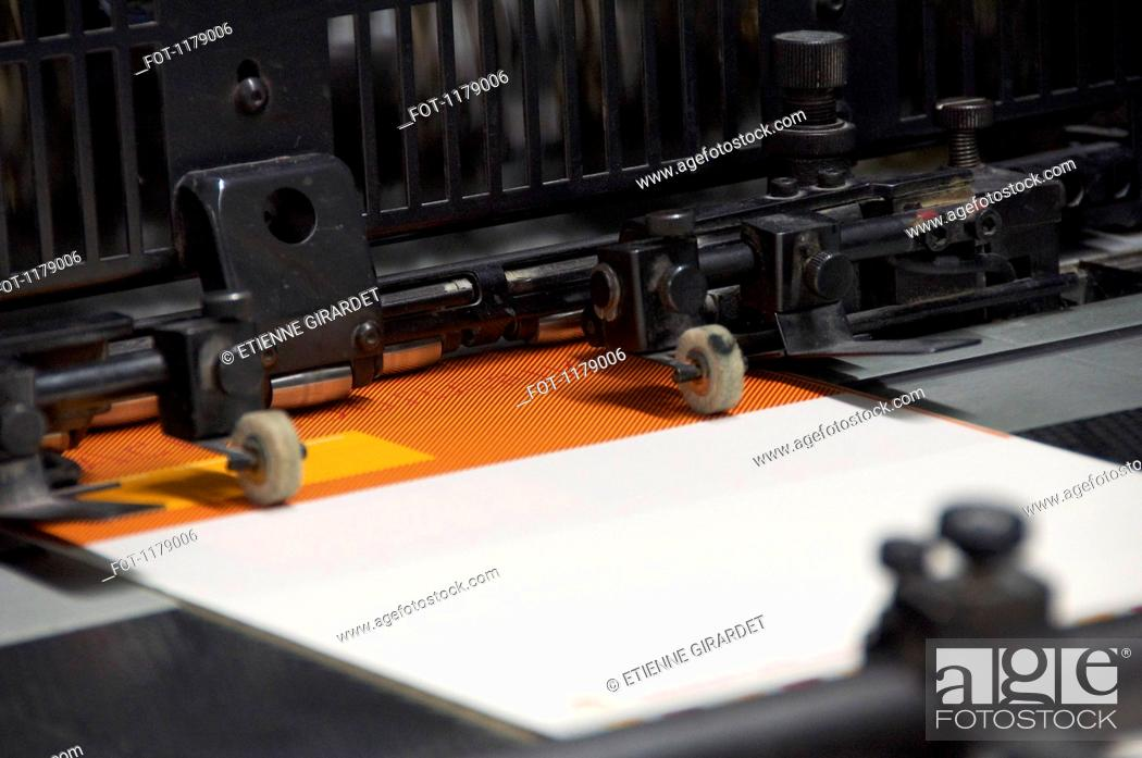 Stock Photo: Offset printing machine.
