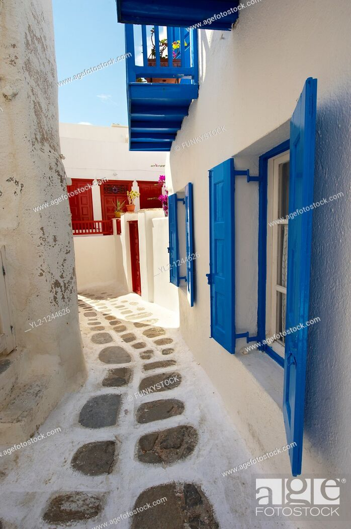 Stock Photo: The narrow lanes with colourful houses of Mykonos Chora, Cyclades Island, Greece.