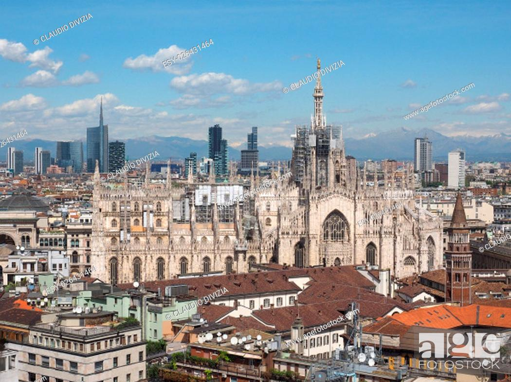 Photo de stock: Aerial view of Duomo di Milano gothic cathedral church in Milan, Italy.