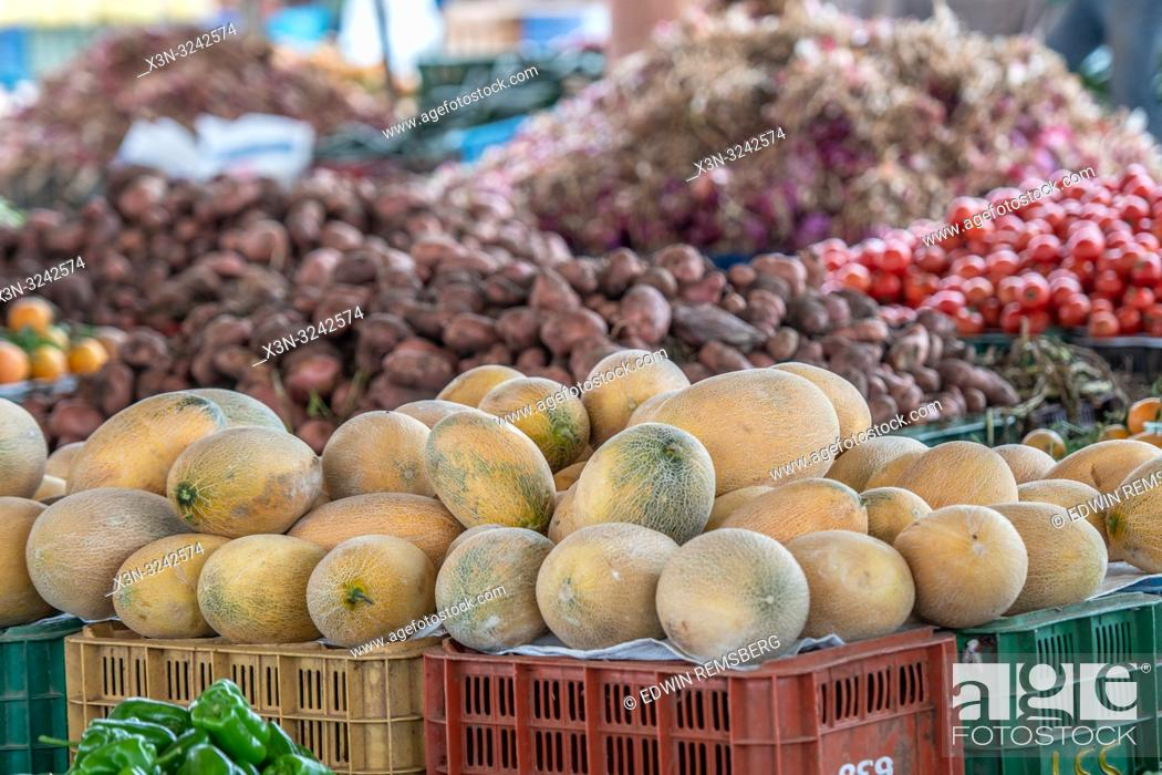 Stock Photo: Melons for sale at the Guelmim market, Guelmim province, Morocco.