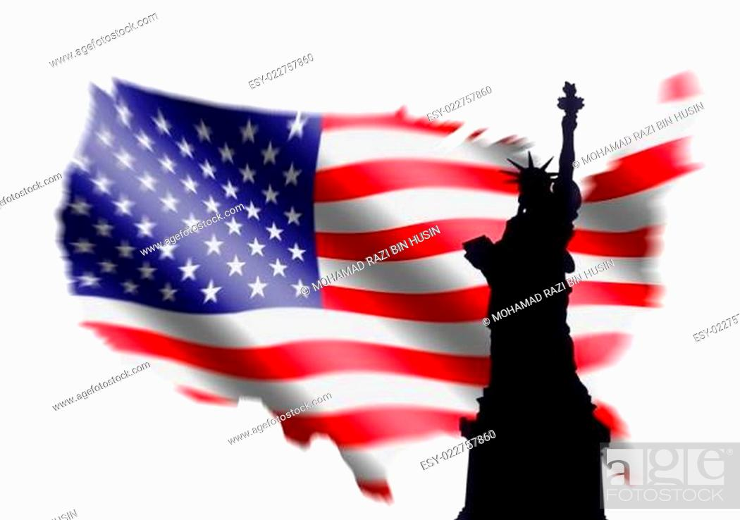 Imagen: American Flag and Statue of Liberty.