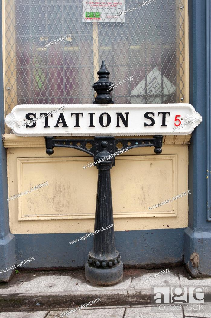Stock Photo: Sign, Station Street, Birmingham, West Midlands, UK.