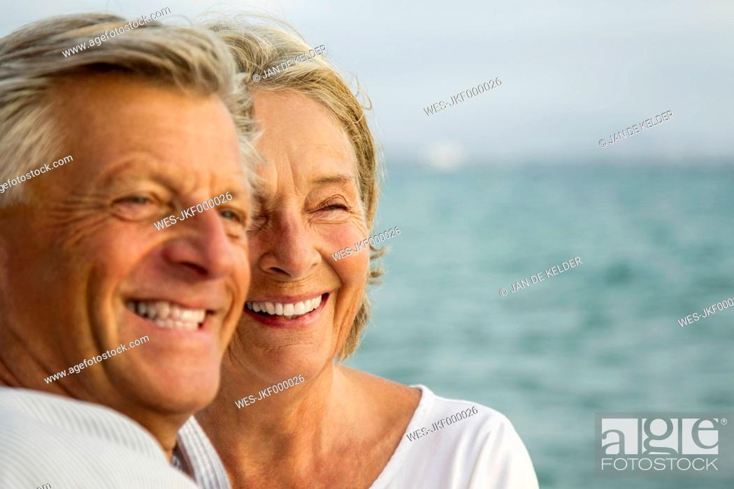 Stock Photo: Spain, Senior couple at the sea.