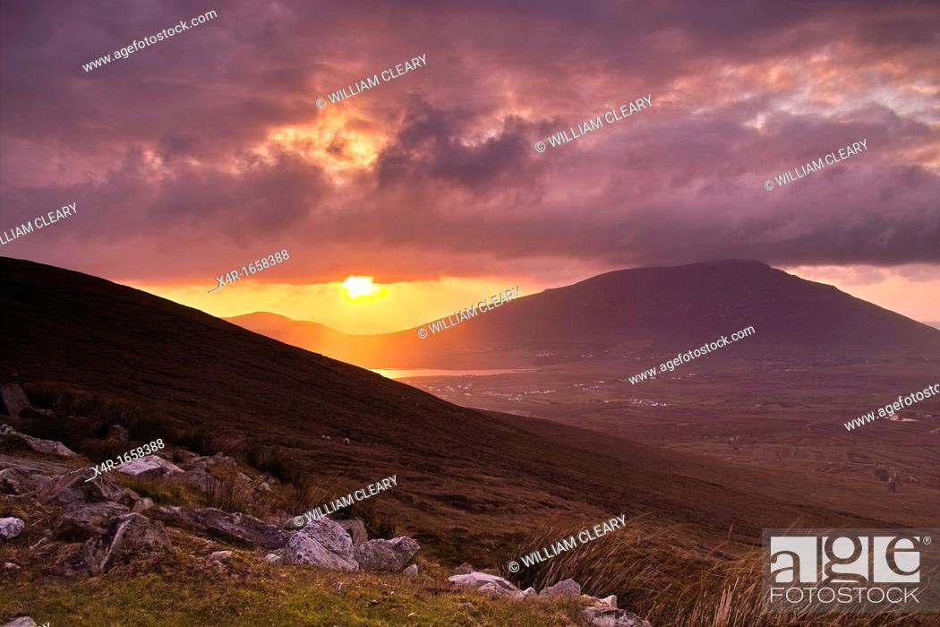 Stock Photo: Sunset over Achill Island, County Mayo, Ireland.