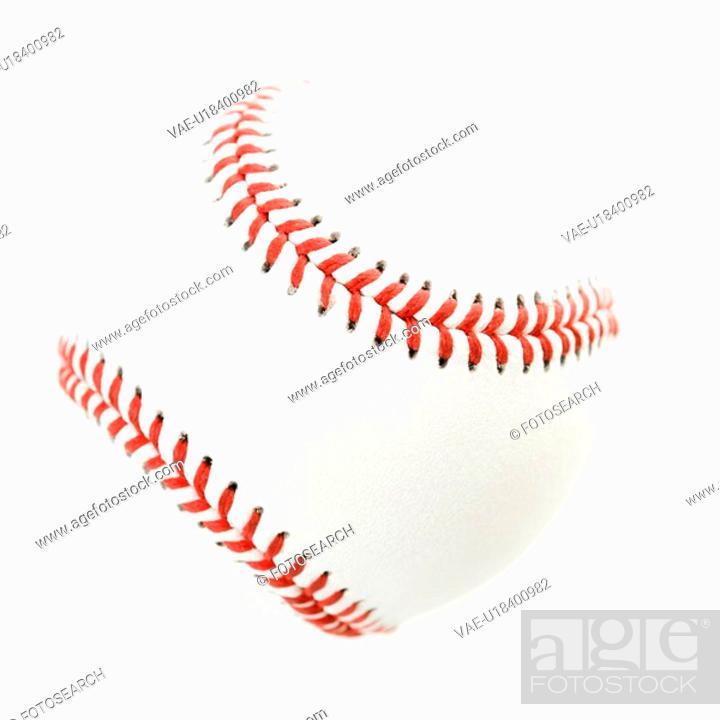 Stock Photo: Baseball on white.