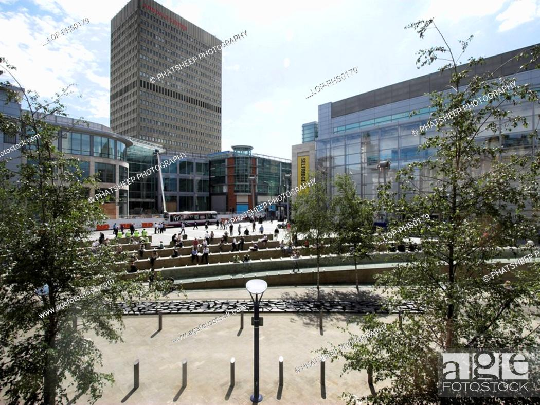 Stock Photo: England, Greater Manchester, Manchester, View of Exchange Square in the city of Manchester.