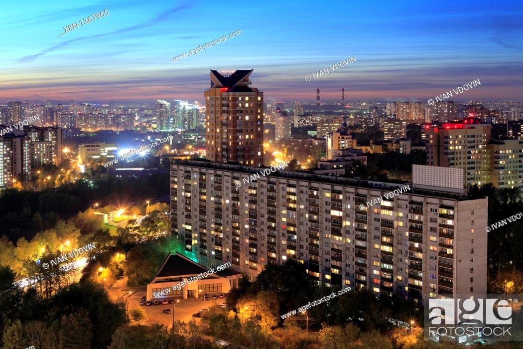 Stock Photo: Apartment buildings at night, Moscow, Russia.