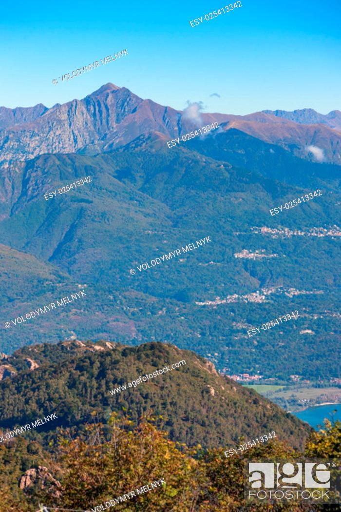 Stock Photo: View of coastline of Lago Maggiore, Italy.