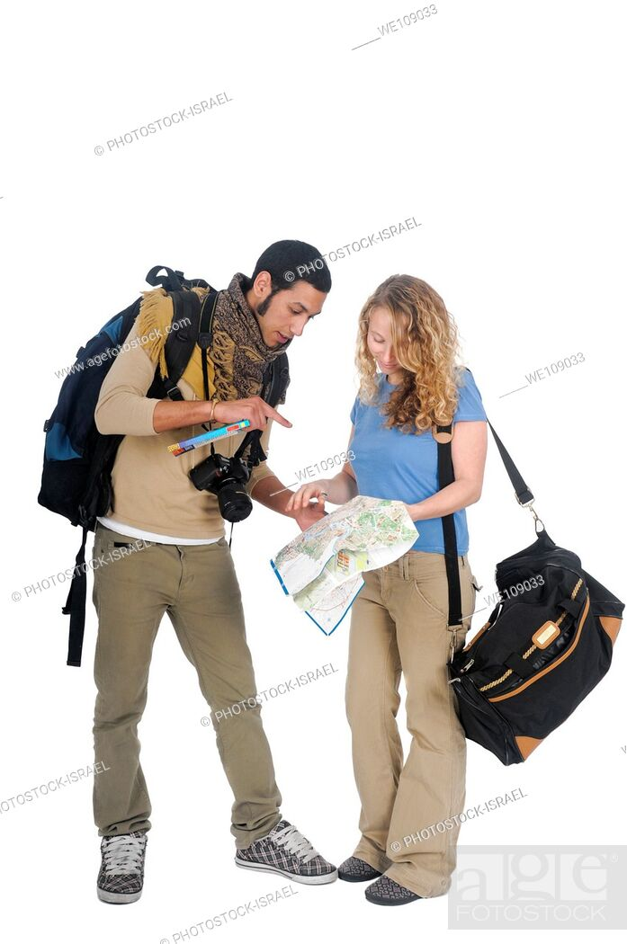 Stock Photo: young backpacker couple lost consult map and guidebook On white Background.