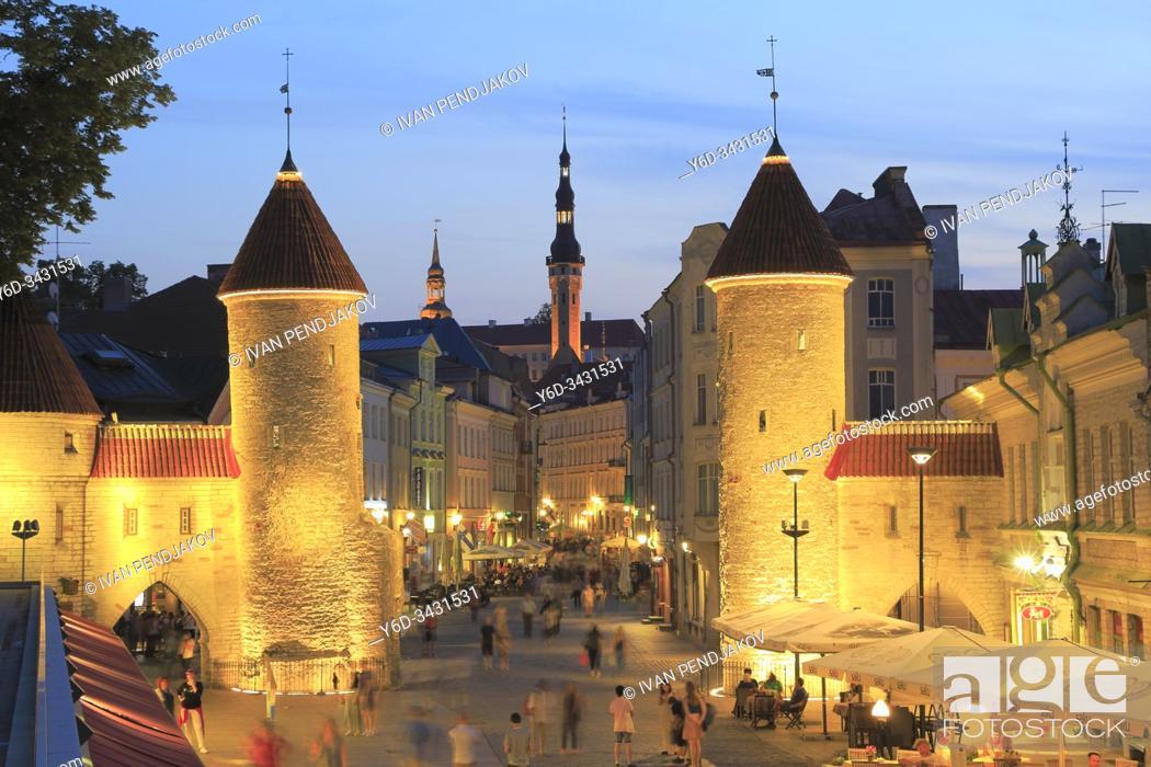 Stock Photo: Viru Gate at Dusk, Tallinn Old Town, Estonia.