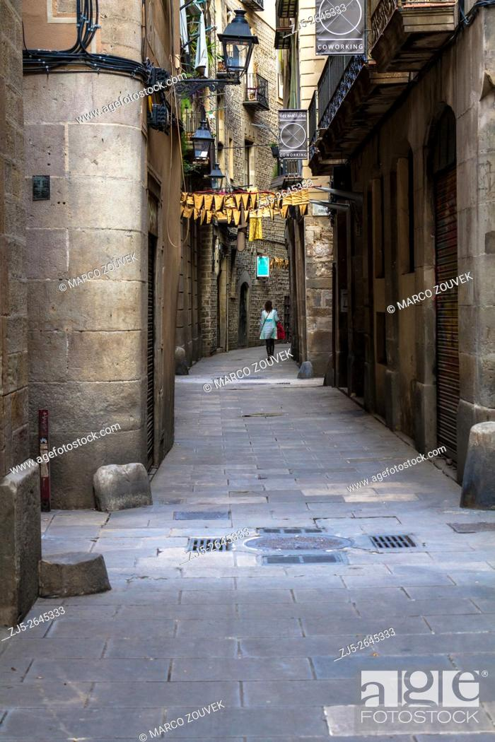 Stock Photo: Ancient streets of Barcelona.
