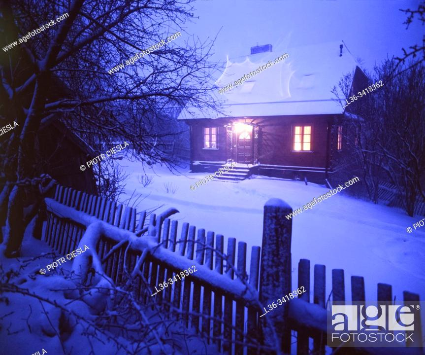 Stock Photo: Poland. Winter in a villige.