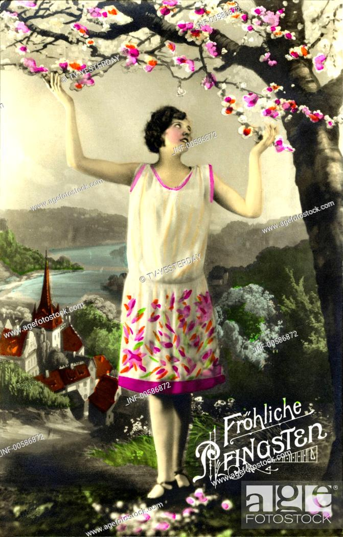 Stock Photo: kitsch / souvenir, greetings card, Happy Whitsun, Germany, picture postcard, 1933,.