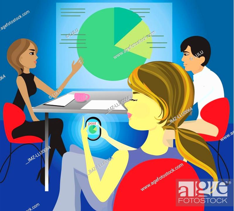 Stock Photo: A woman posting to a blog using a personal digital assistant during a business meeting.