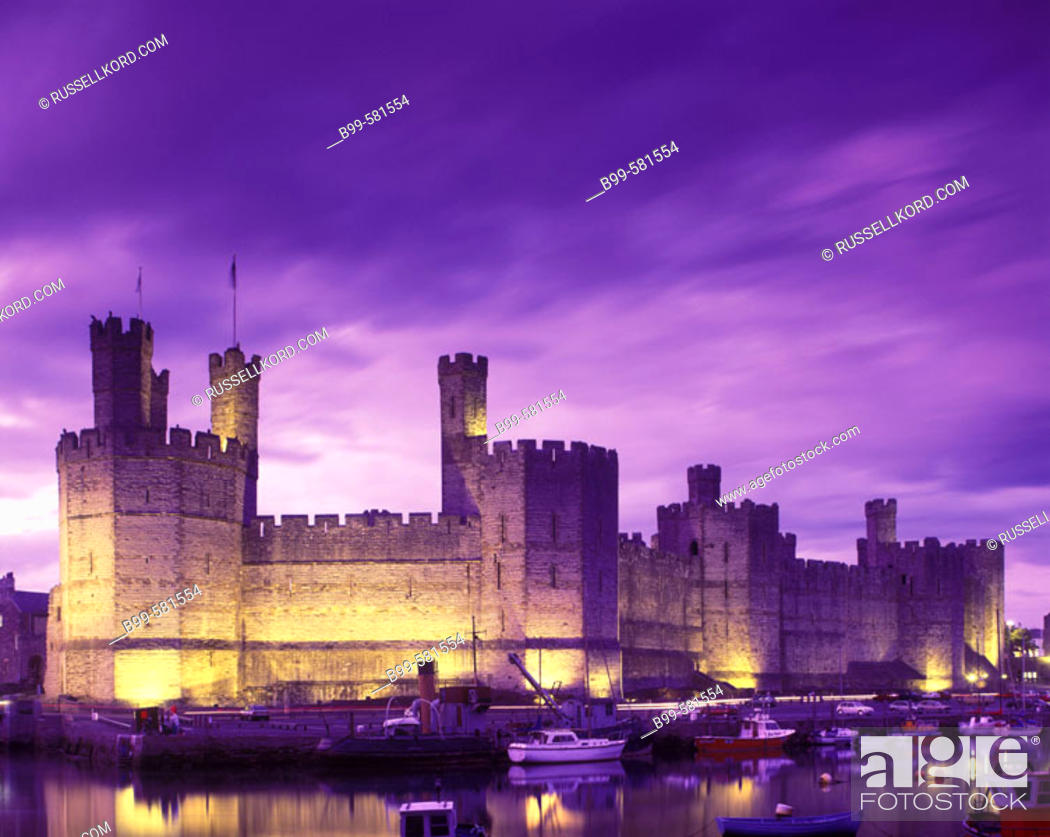 Stock Photo: Caernarfon Castle, Gwynedd, Wales, Uk.