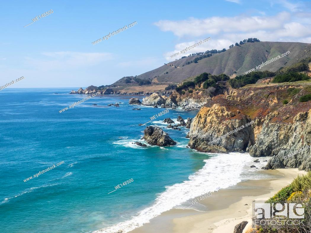 Stock Photo: Big Sur is a sparsely populated region of the Central Coast of California where the Santa Lucia Mountains rise abruptly from the Pacific Ocean.