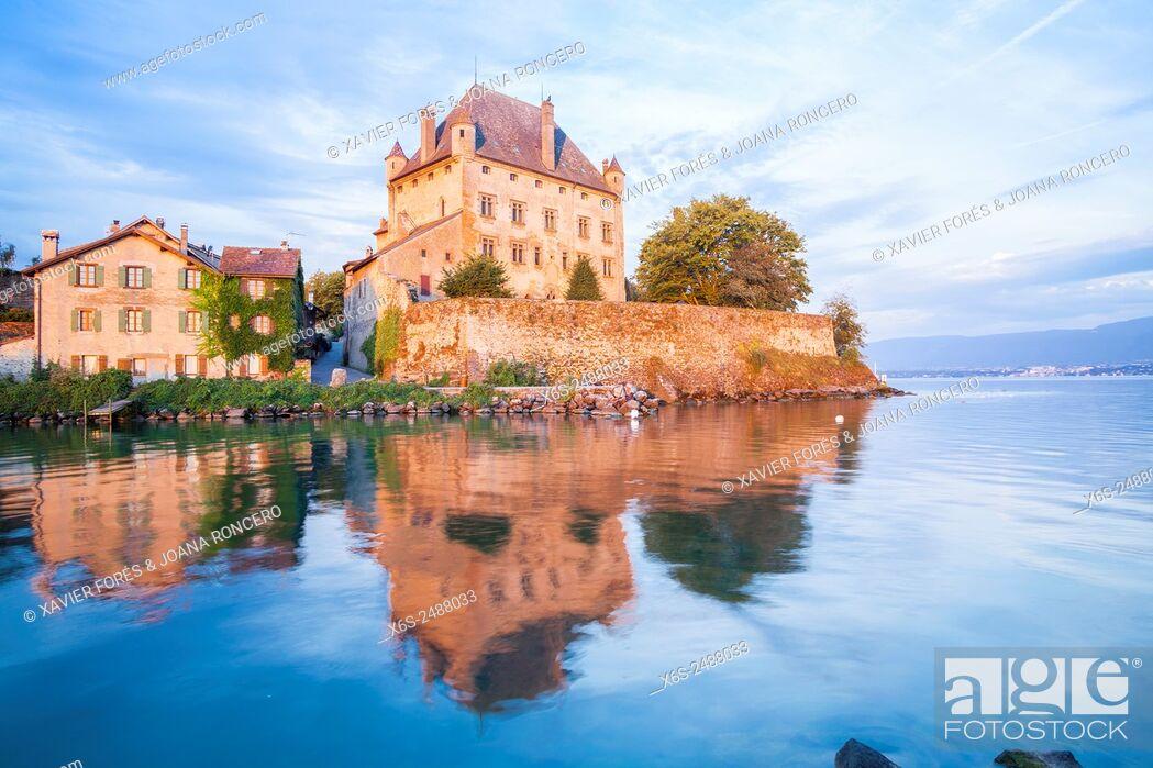 Stock Photo: Castle of Yvoire in the shore of Leman Lake, Haute-Savoie, Rhône-Alpes, France.