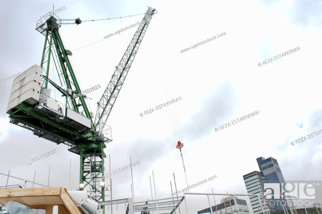 Stock Photo: Construction crane.