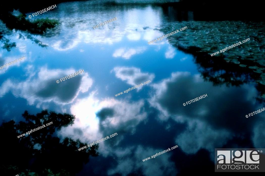 Stock Photo: Sky Reflected On Pond.