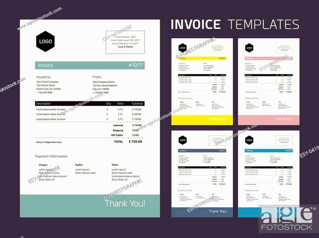 Stock Vector: Invoice Template Set : beautiful subtle colors.