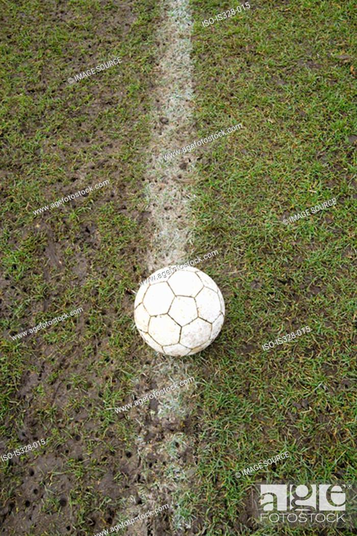 Stock Photo: Football on a line.