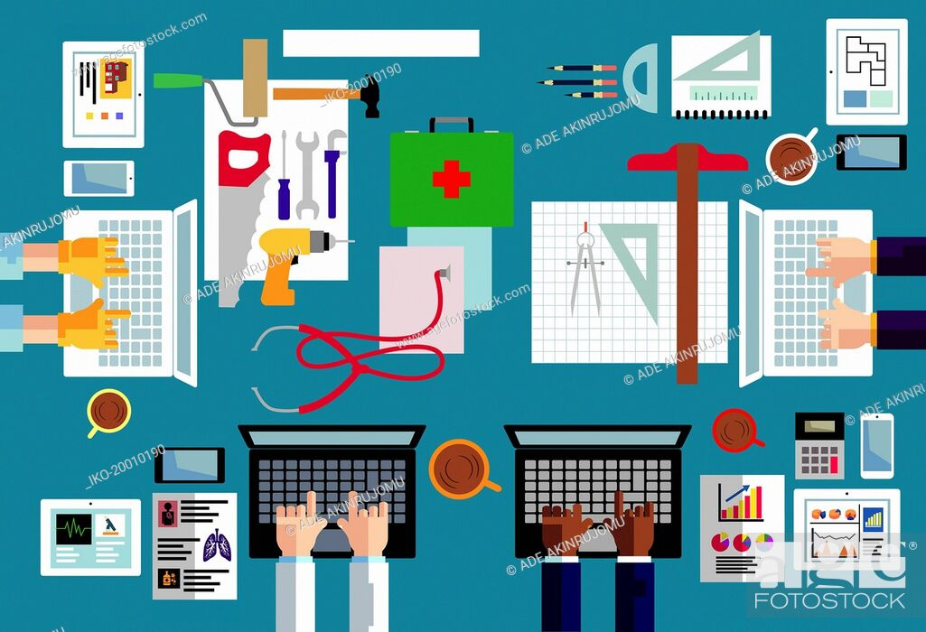 Stock Photo: Overhead view of different occupations using computer technology.