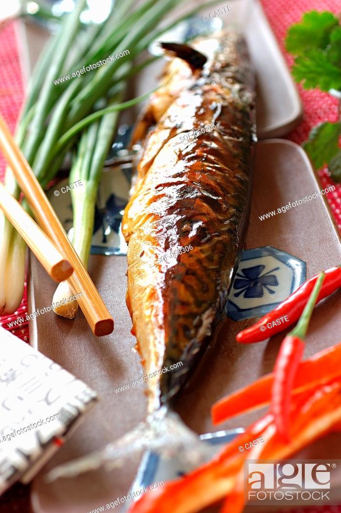 Stock Photo: glazed mackerel.