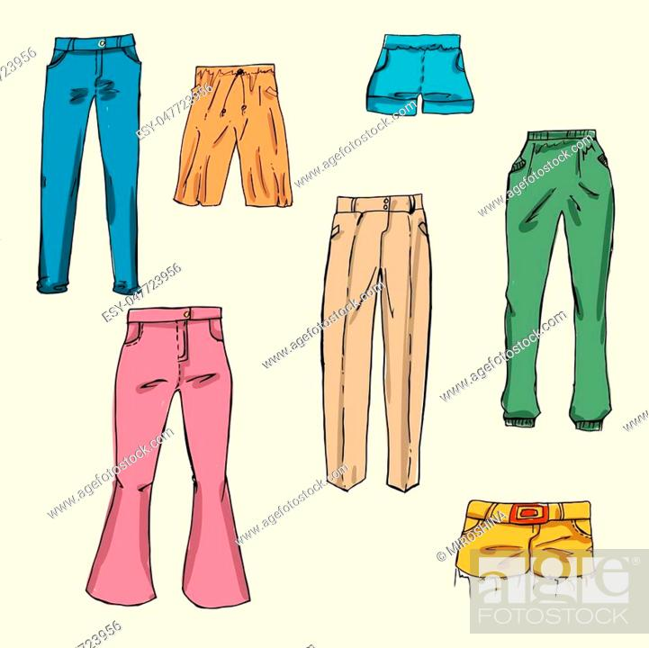 Stock Vector: Fashion set. different pants, trousers. Illustration in hand drawing style.