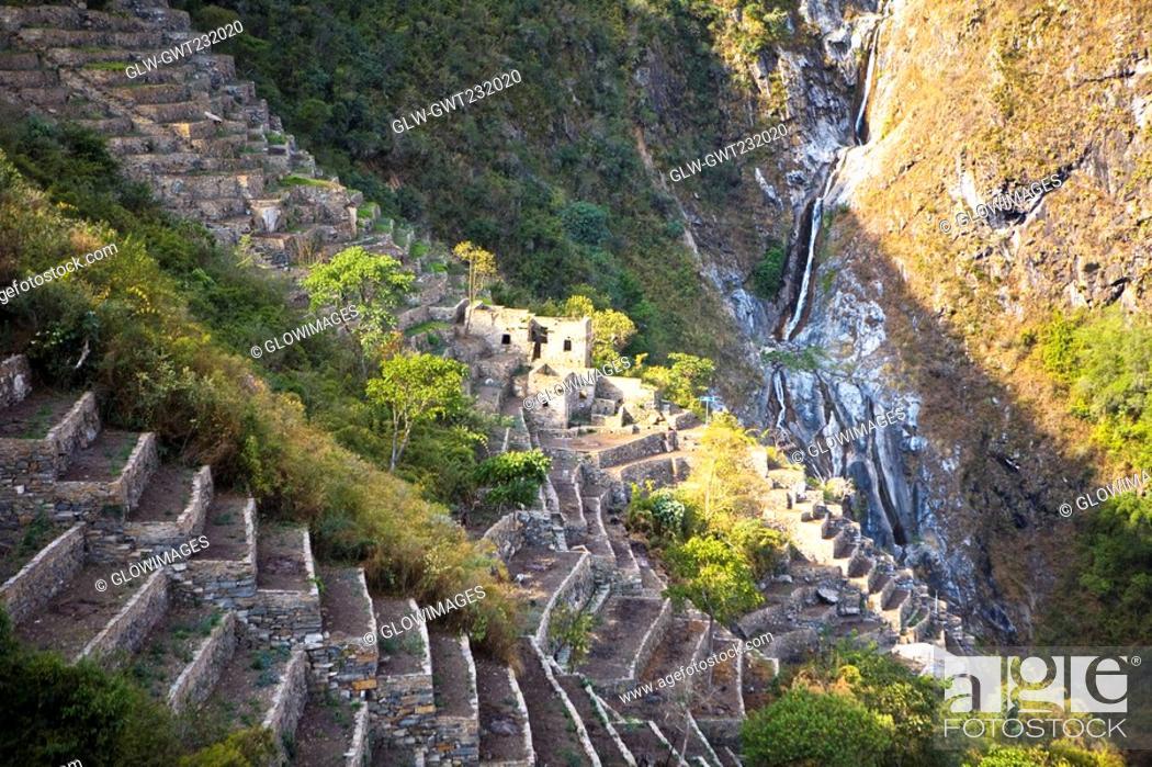 Stock Photo: High angle view of the old ruins, Choquequirao, Inca, Cusco Region, Peru.